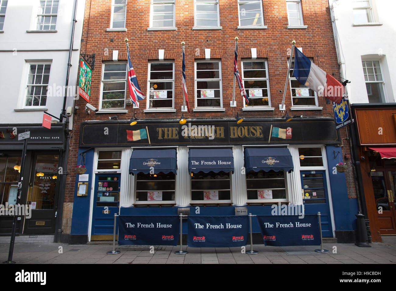 The French House, renowned pub in the heart of Soho, where actors, artists and writers frequent, Dean Street, London, - Stock Image