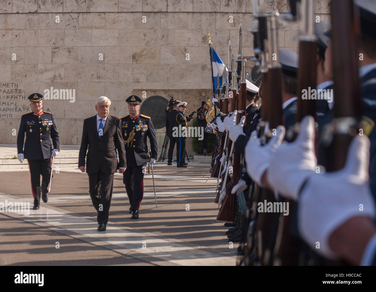Athens, Greece. 21st Nov, 2016. President of the Hellenic Republic Prokopis Pavlopoulos inspects a millitarry detachment. - Stock Image