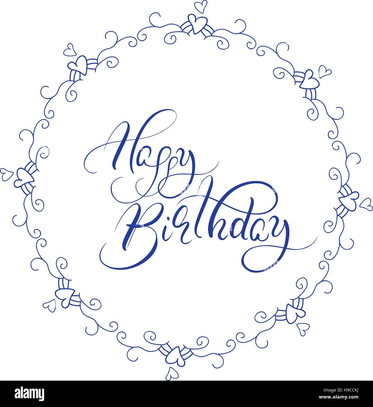 abstract blue round frame and calligraphic words happy birthday