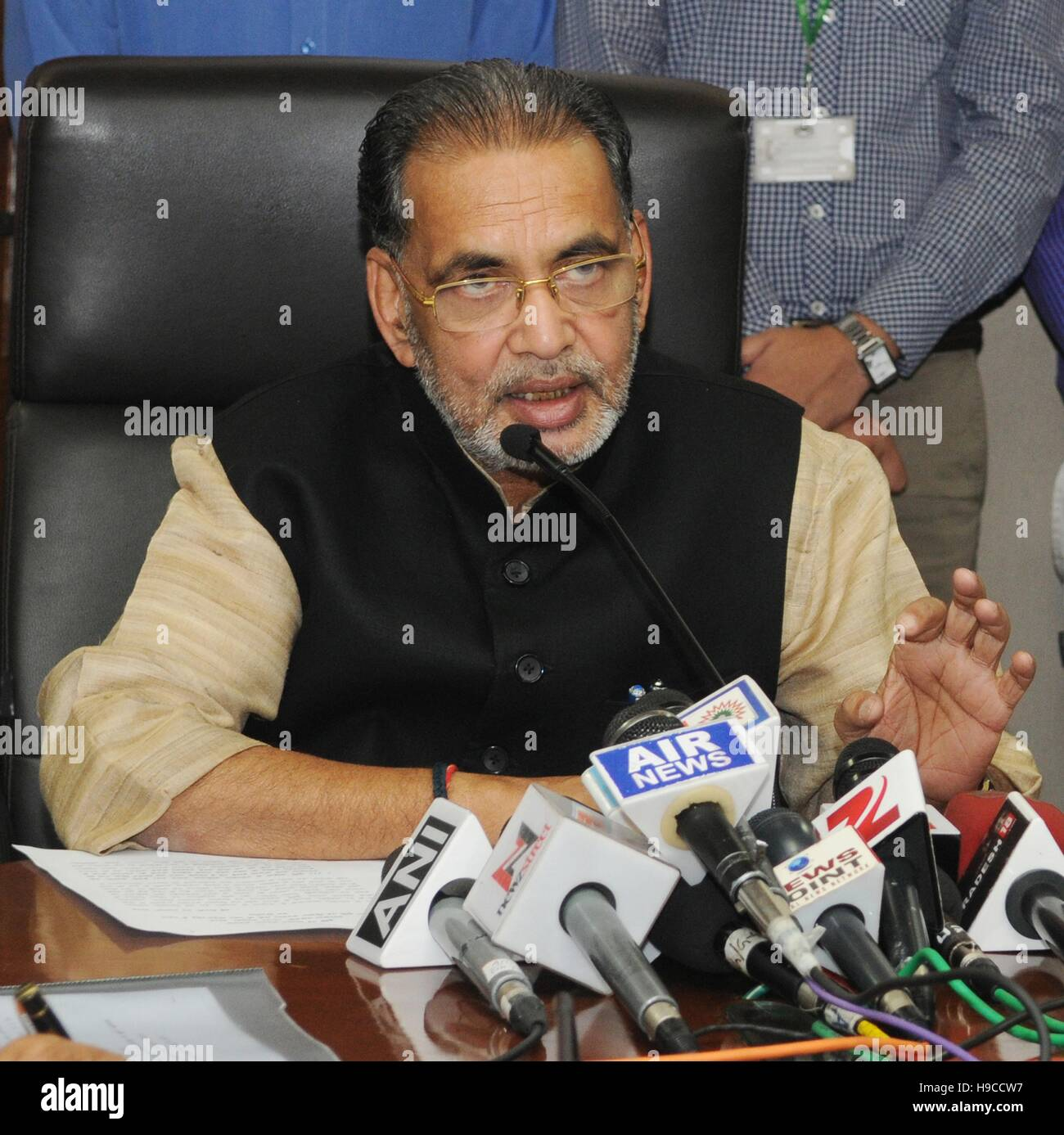 Indian Union Minister for Agriculture and Farmers Welfare, Radha Mohan Singh addresses the media on the recently - Stock Image