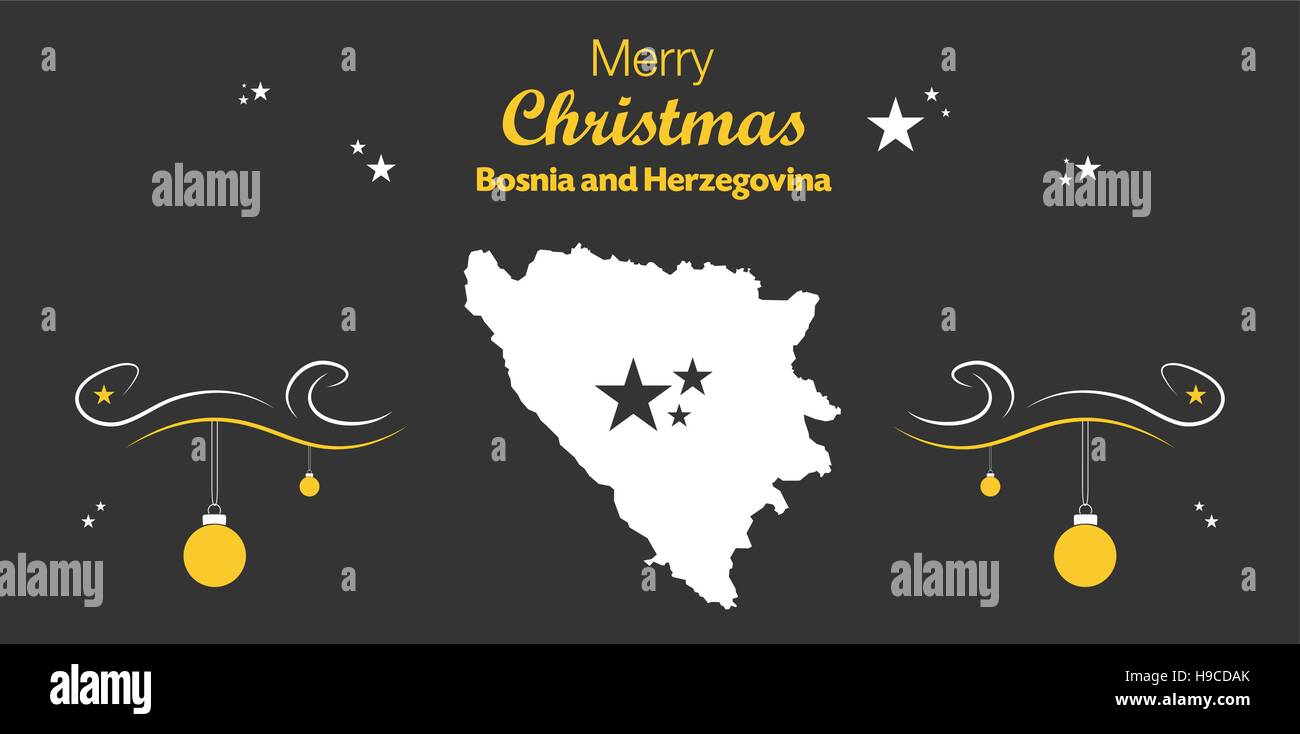 Merry Christmas illustration theme with map of Bosnia and Herzegovina - Stock Vector