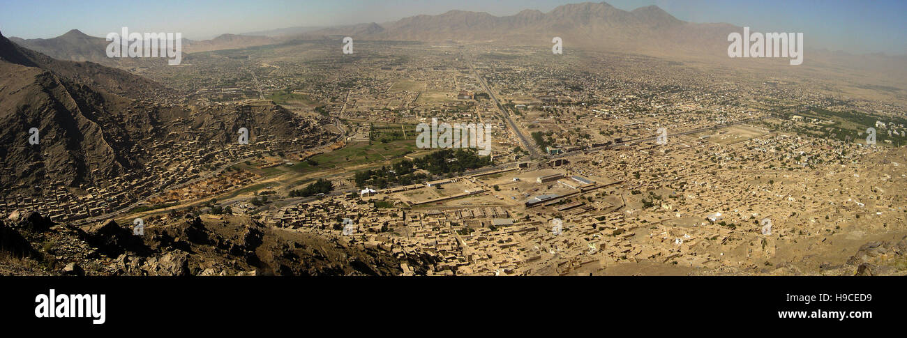 28th May 2004 Viewed from the top of the Asmai Heights (TV hill): a panoramic aerial view of Kabul, looking to the - Stock Image