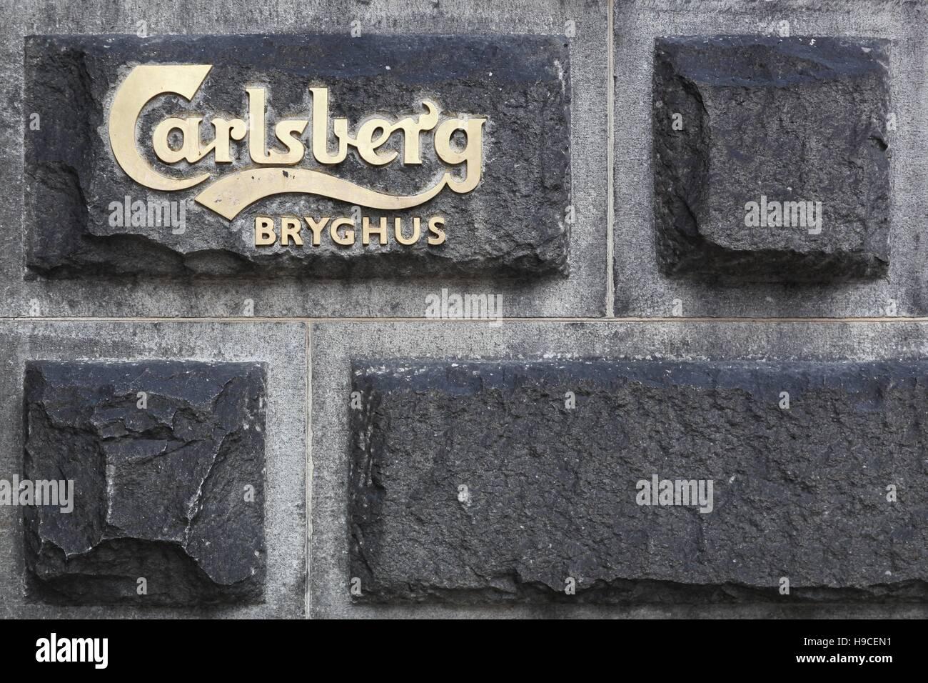 Carlsberg brewery sign in Copenhagen, Denmark - Stock Image