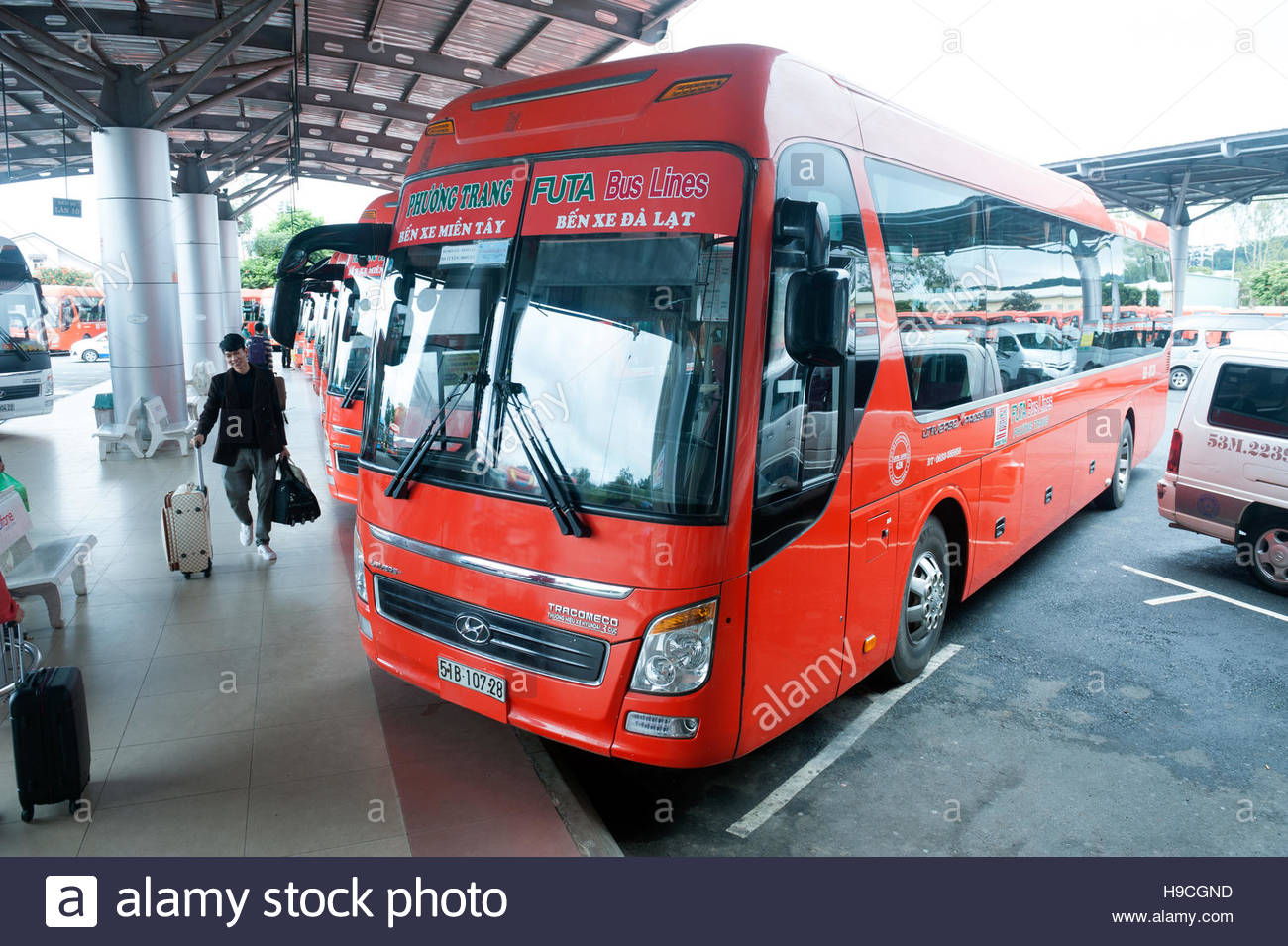Dalat Vietnam Phuong Trang Futa Bus lines at the intercity bus terminal. - Stock Image