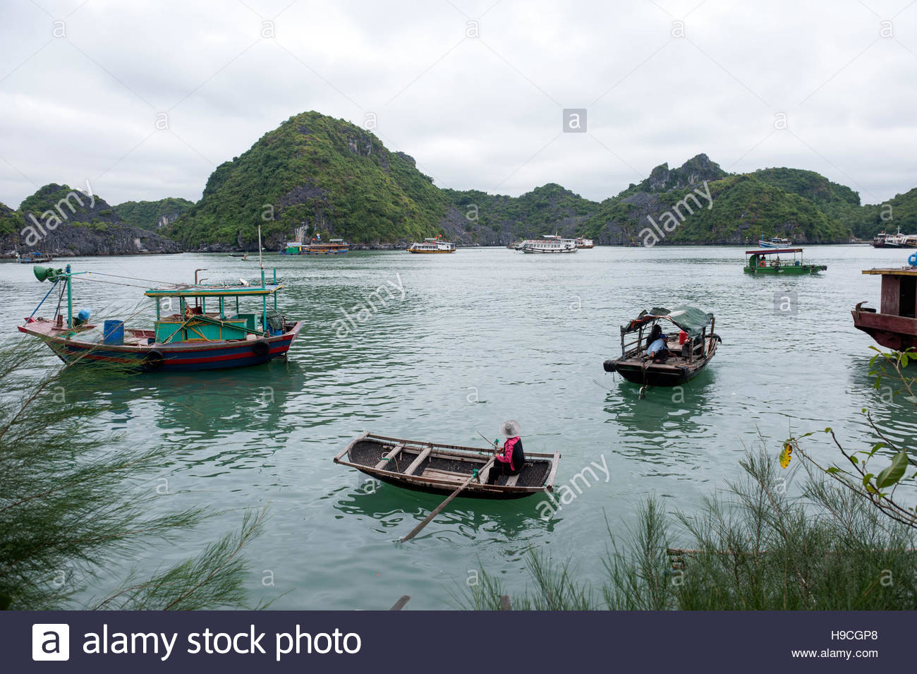 Cat Ba Vietnam Ferries and watertaxis ferry passengers to the island from fisheries and fish farms along the coast - Stock Image