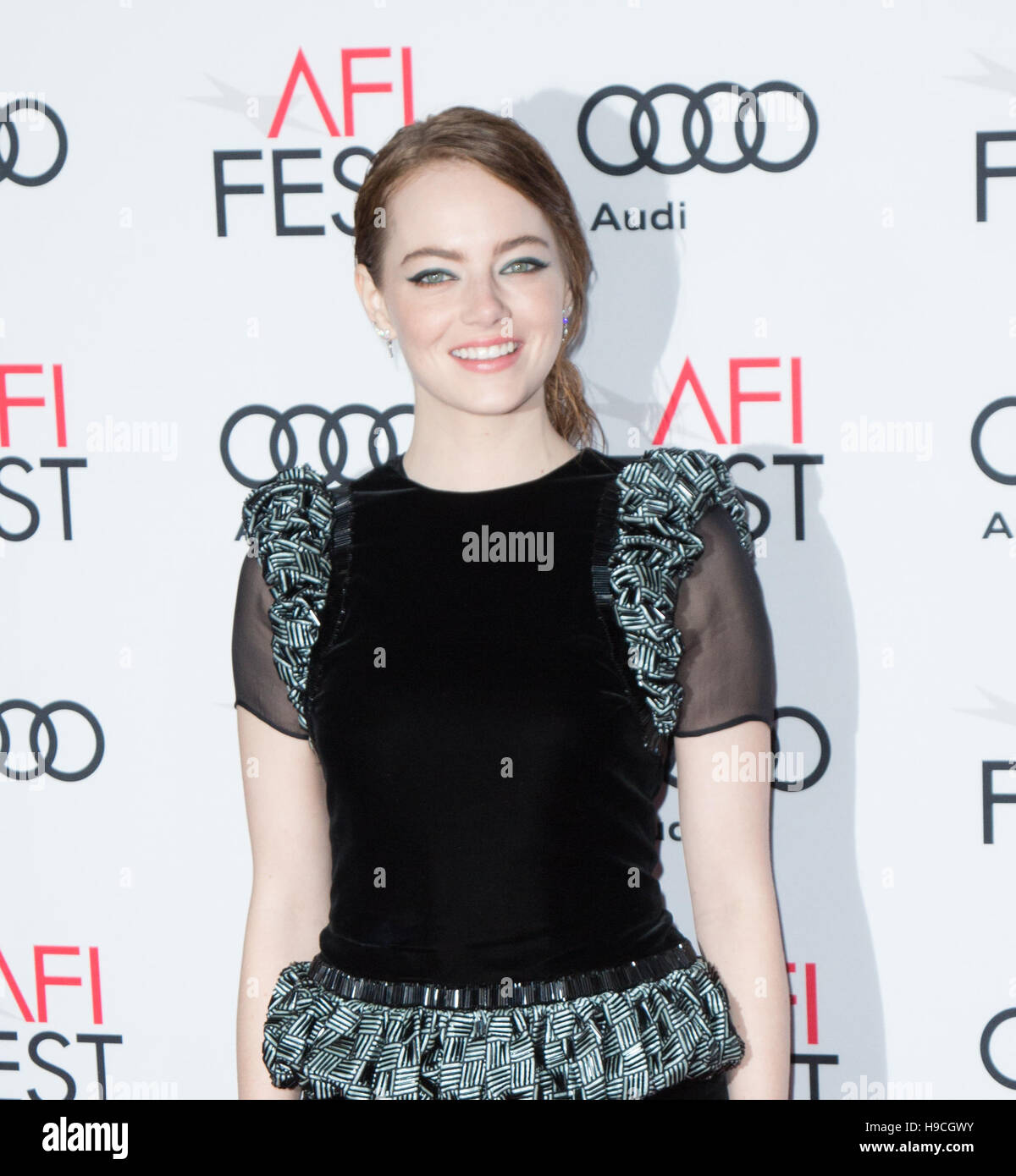Actress Emma Stone arrives at AFI FEST 2016 Presented By Audi - Screening Of Lionsgate's 'La La Land' - Stock Image