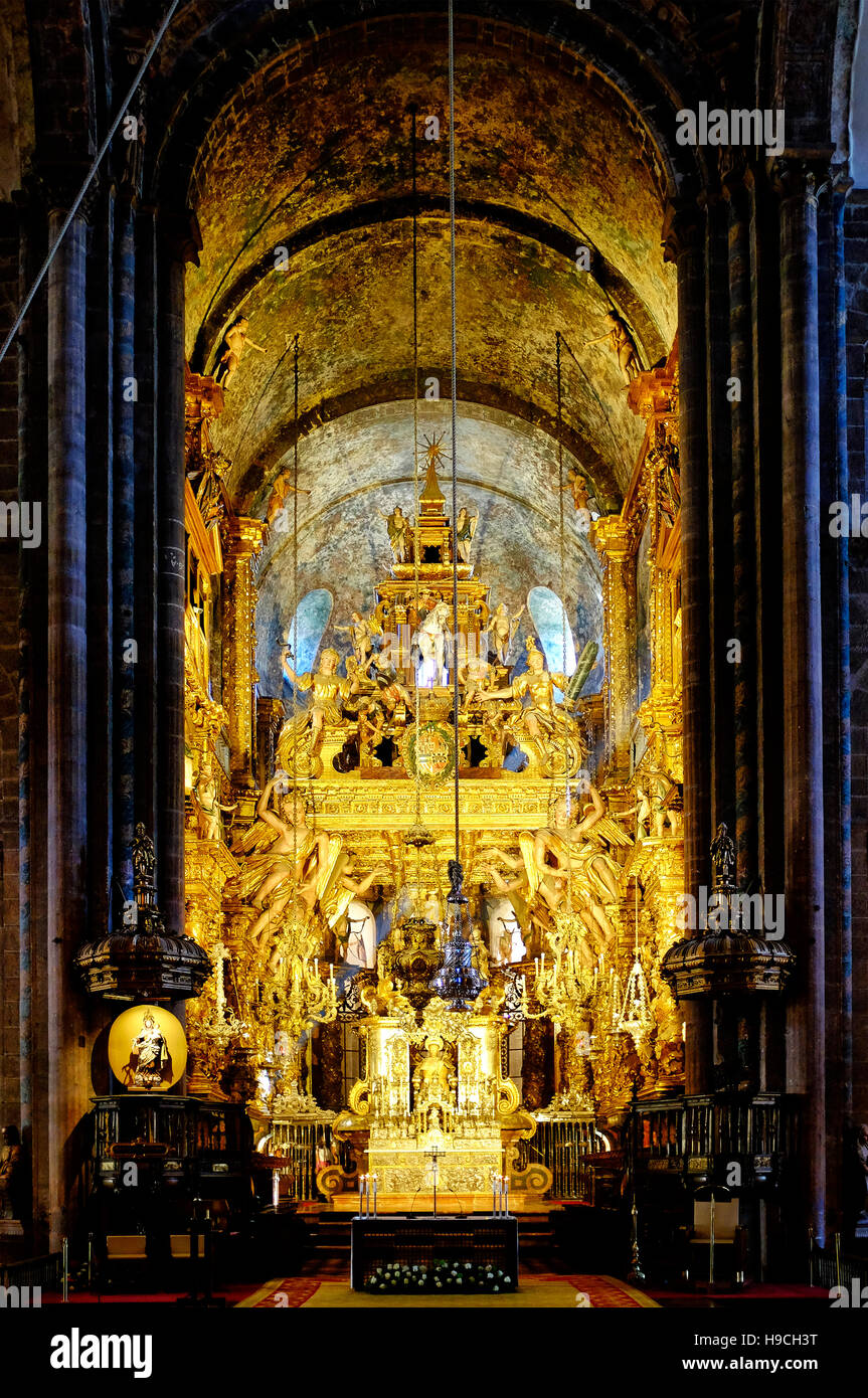 Altar of the cathedral of Santiago de Compostela, Santiago de Compostela, Spain - Stock Image