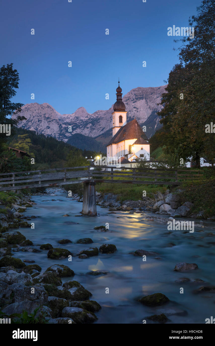Early morning twilight over St Sebastian Church, Ramsau bei Berchtesgaden, Bavaria, Germany - Stock Image