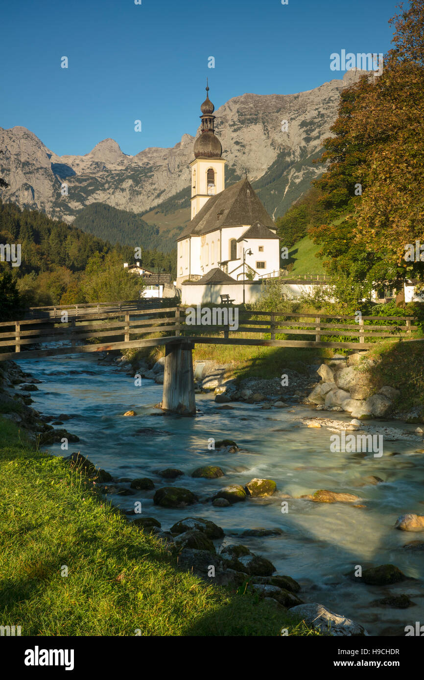 Early morning over St Sebastian Church, Ramsau bei Berchtesgaden, Bavaria, Germany - Stock Image