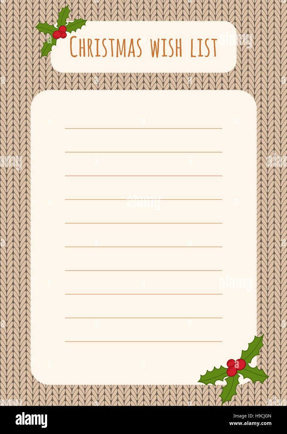 Christmas Wish List Design Template Over A Knitted Background With