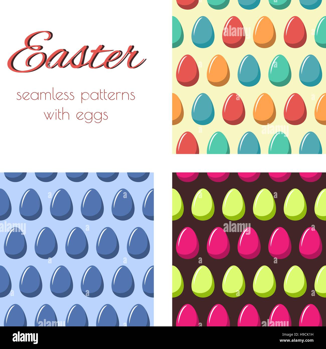 Set of seamless patterns with multicolored eggs. Easter background. Stock Vector
