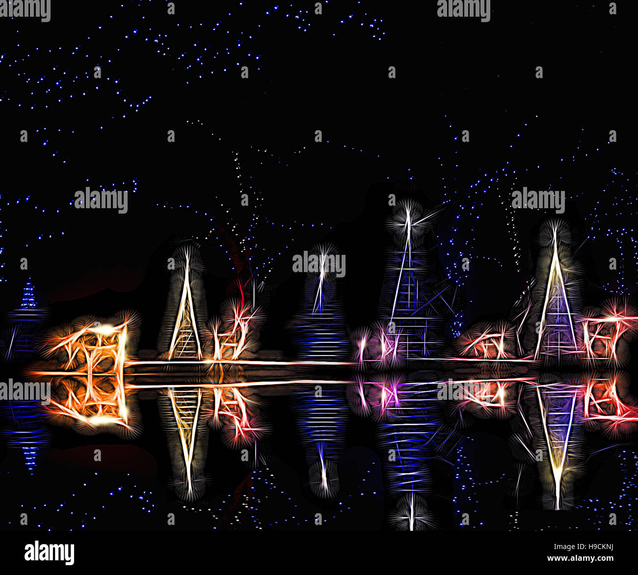 Christmas lights abstract with reflection at night - Stock Image