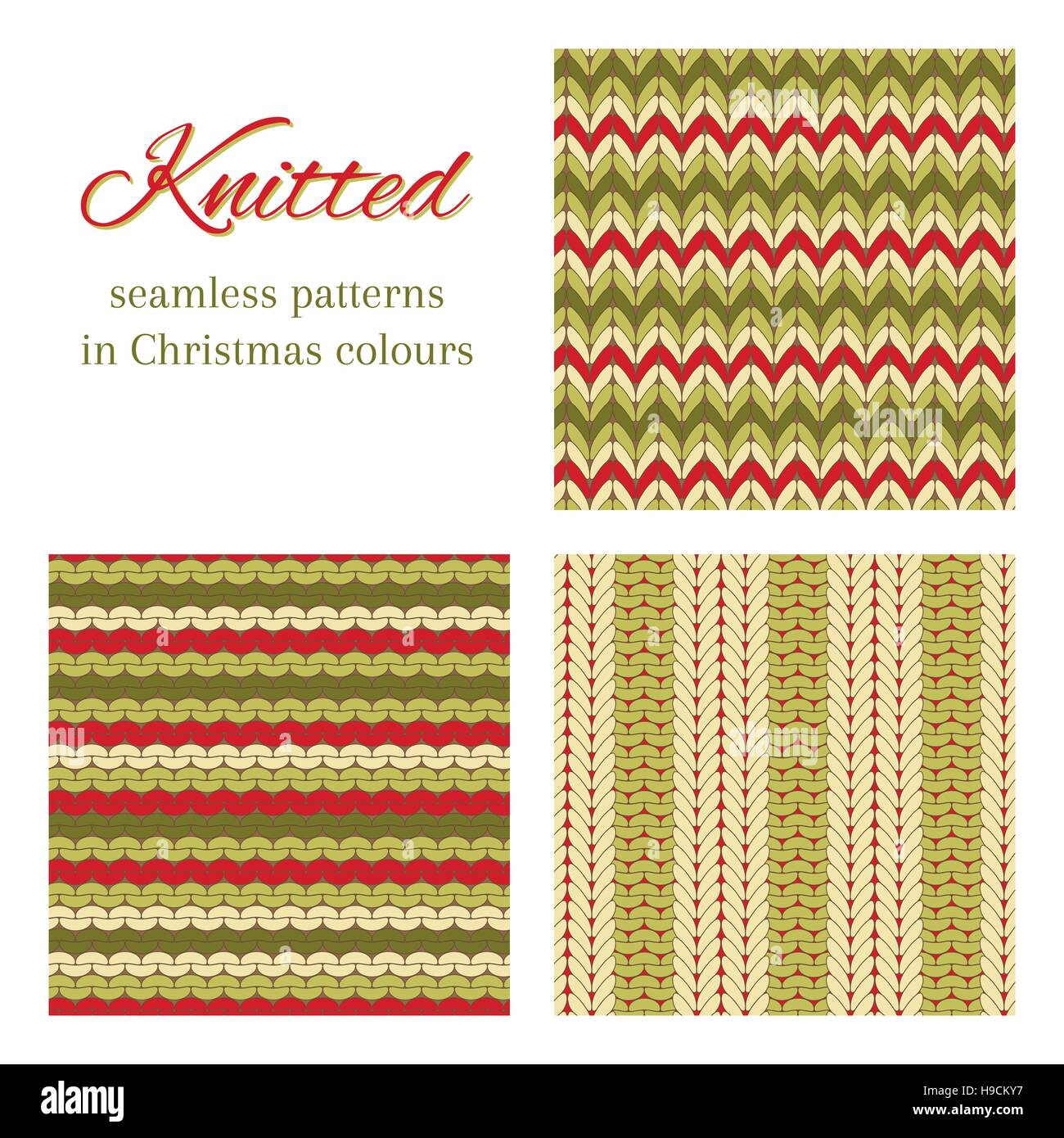 3dc4c6329 Set of vector seamless patterns imitating basic knitted fabrics. Abstract  vector backgrounds in Christmas colours