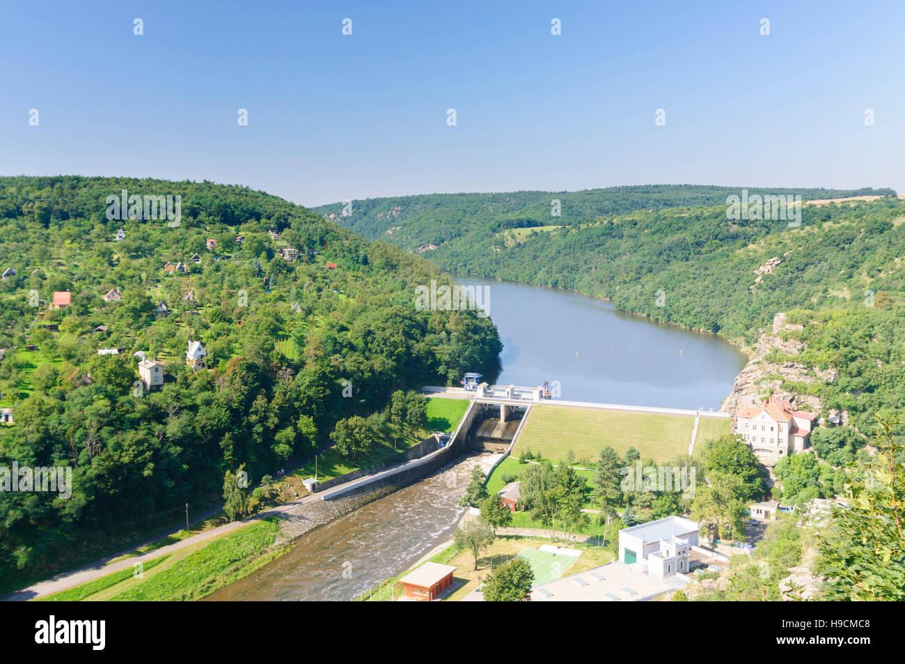Znojmo (Znaim): Blick von der Burg auf einen Stausee der Dyje (Thaya), , Jihomoravsky, Südmähren, South - Stock Image