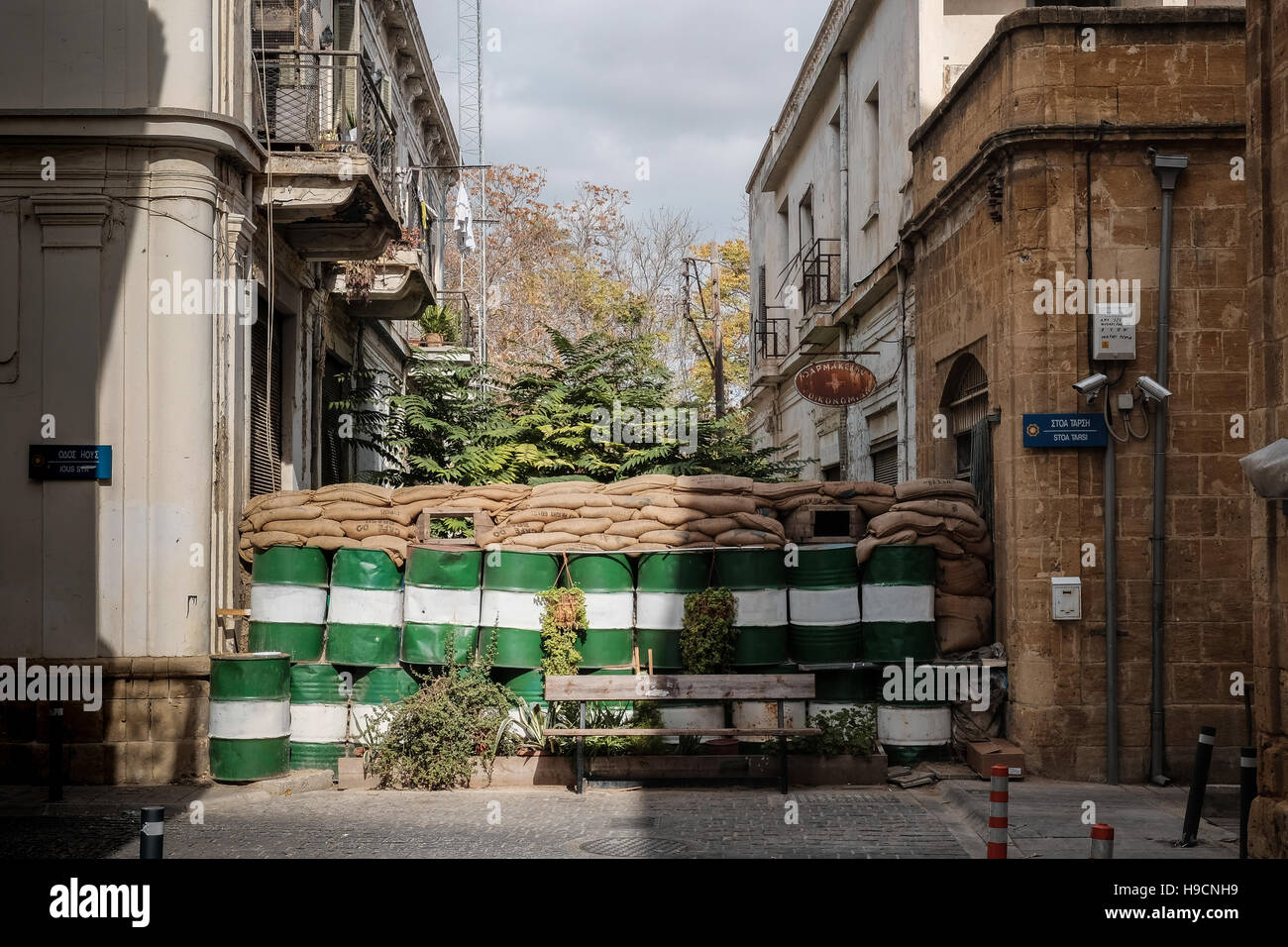 A street is  barricaded and fortified at the UN buffer zone between Greek Cypriot and Turkish Cypriot areas in Nicosia, - Stock Image