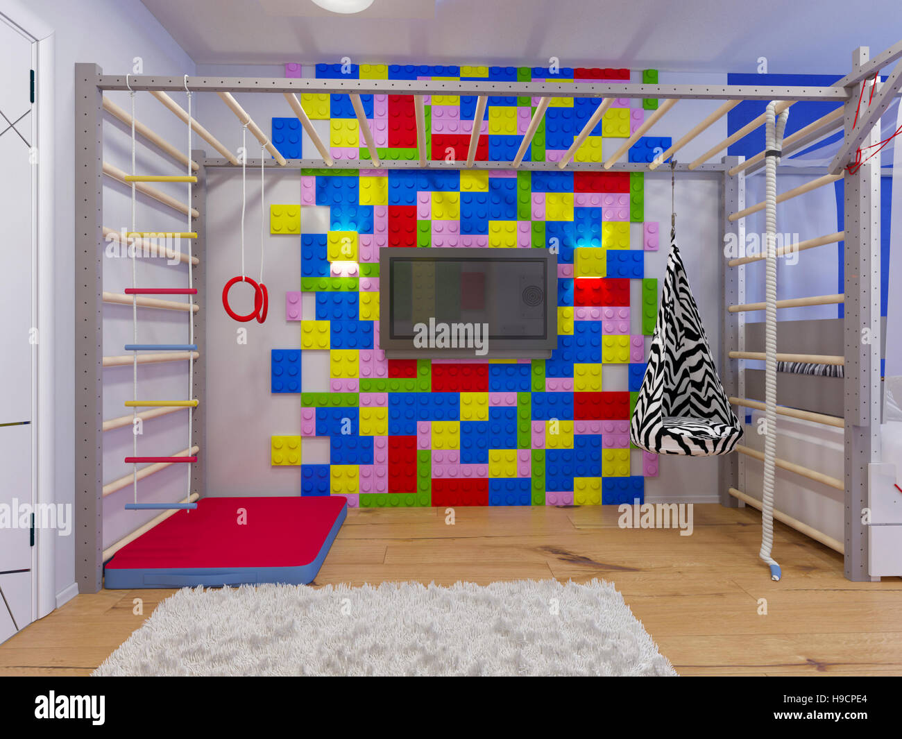 3d illustration of interior design childrens room for a boy in