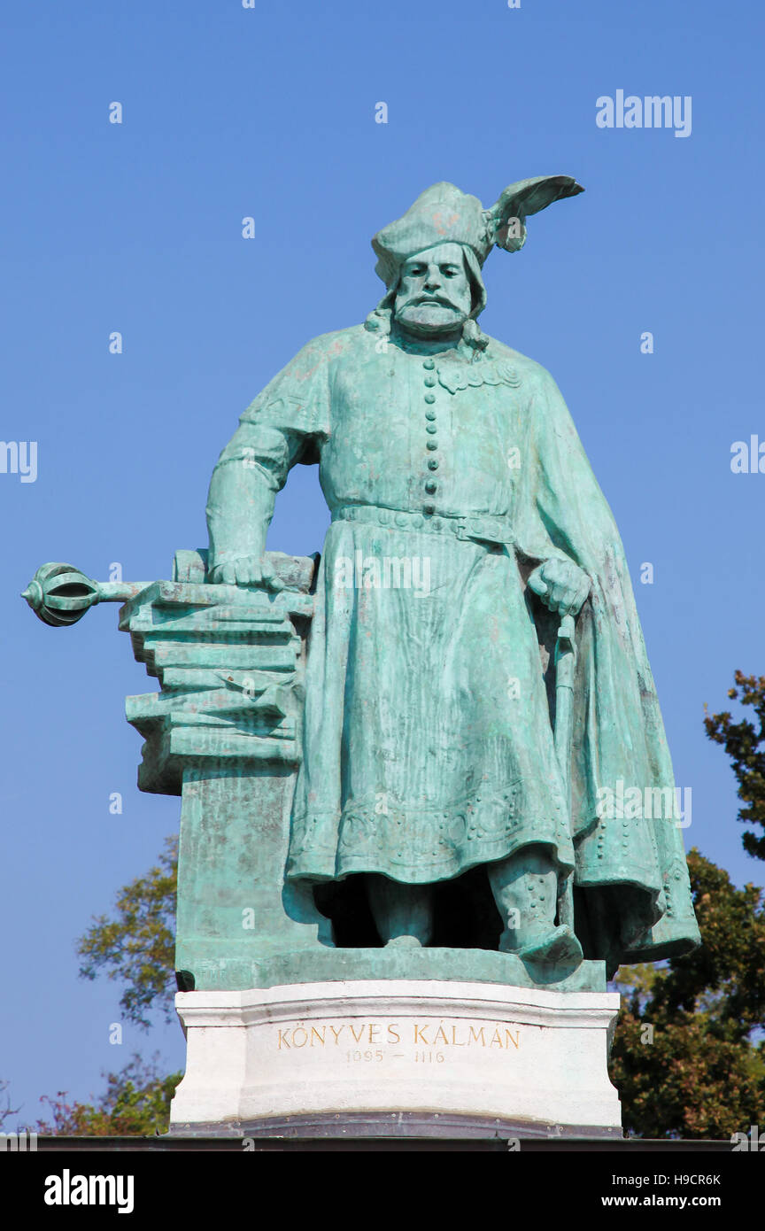 Statue of Coloman the Learned, also the Book-Lover or the Bookish (1070 - 1116), King of Hungary from 1095 and King - Stock Image