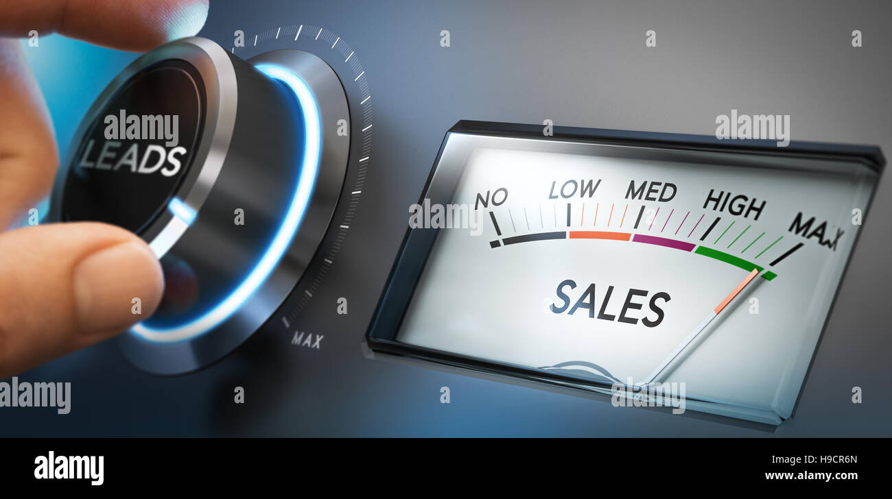 Hand turning a knob to set number of leads to the maximum to generate more sales. Composite image between a photography - Stock Image
