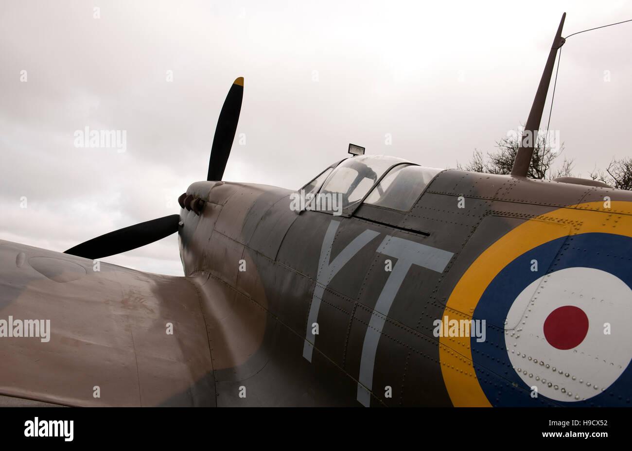 Replica Spitfire aircraft at Battle of Britain Memorial, Capel-le-Ferne, Folkestone, Kent. - Stock Image