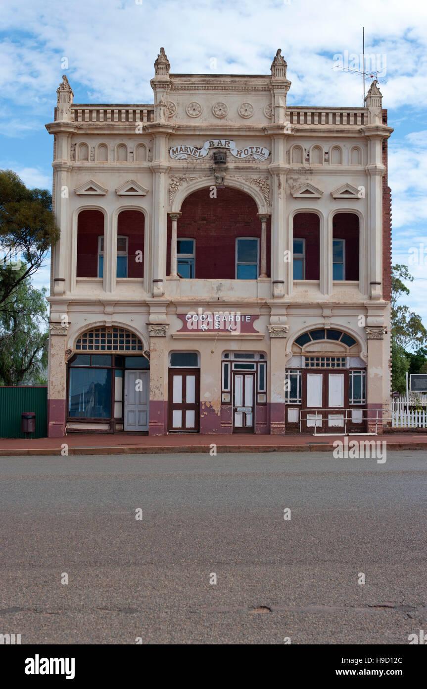 RSL Coolgardie, one of the few remaining buildings on the main street of Coolgardie, Western Australia. - Stock Image