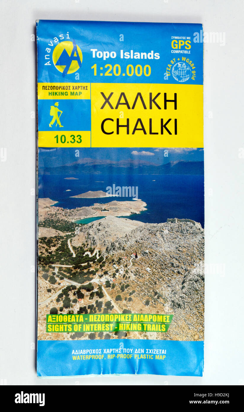 Topo Islands map of the Greek Island of Chalki. - Stock Image