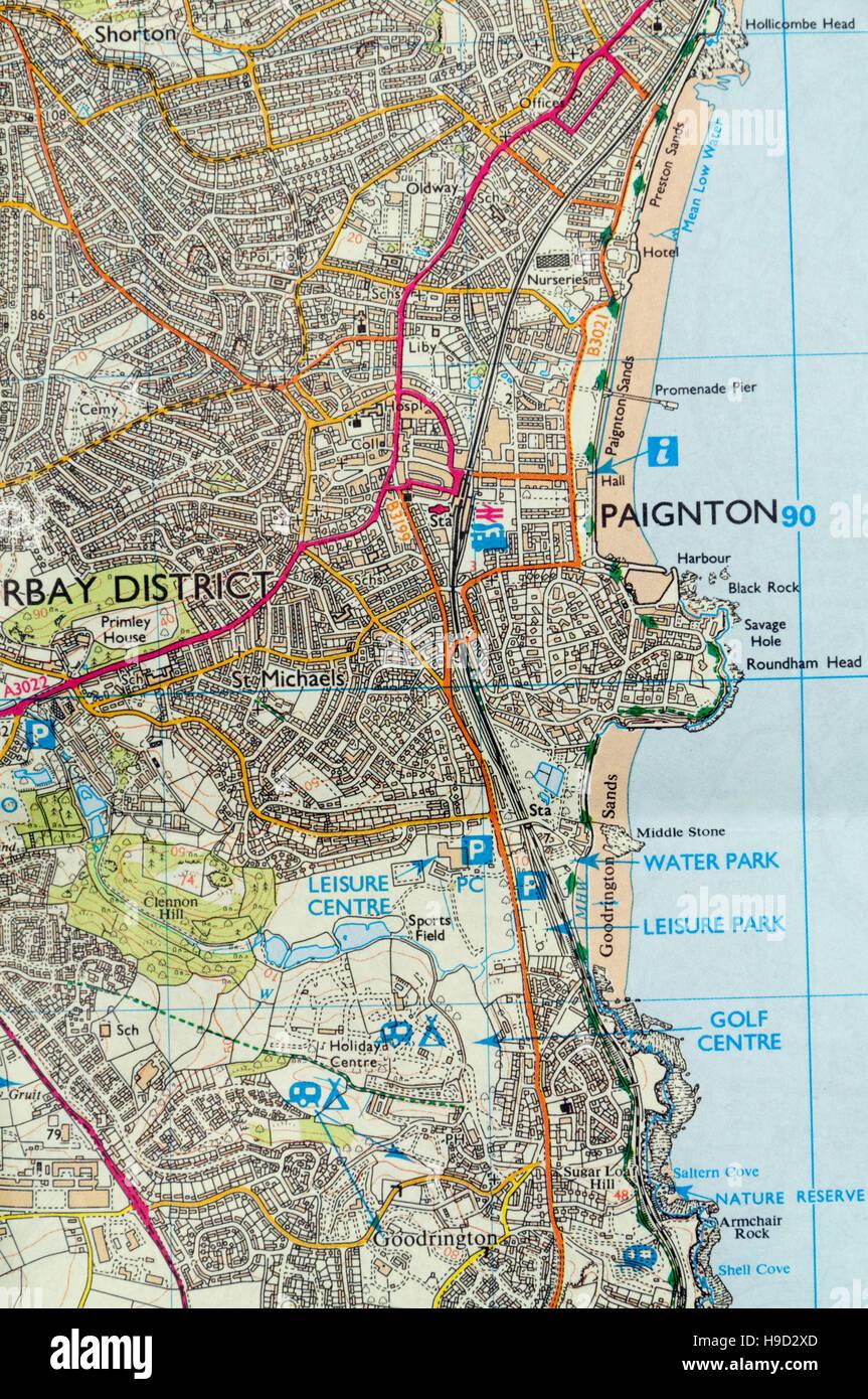 Map Of Paignton Ordnance Survey Map of Paignton, England Stock Photo: 126292165  Map Of Paignton