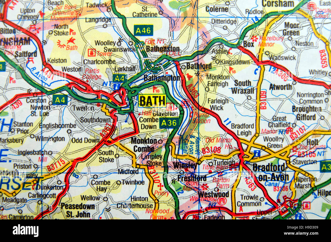 Road Map of Bath, England Stock Photo: 126292217   Alamy