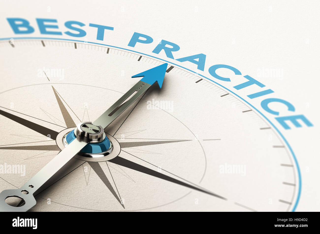 3D illustration of a compass with needle pointing the text best practice - Stock Image