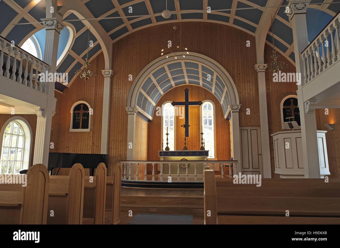 Interior of the Blue Church, Seydisfjordur, east Iceland. - Stock Image