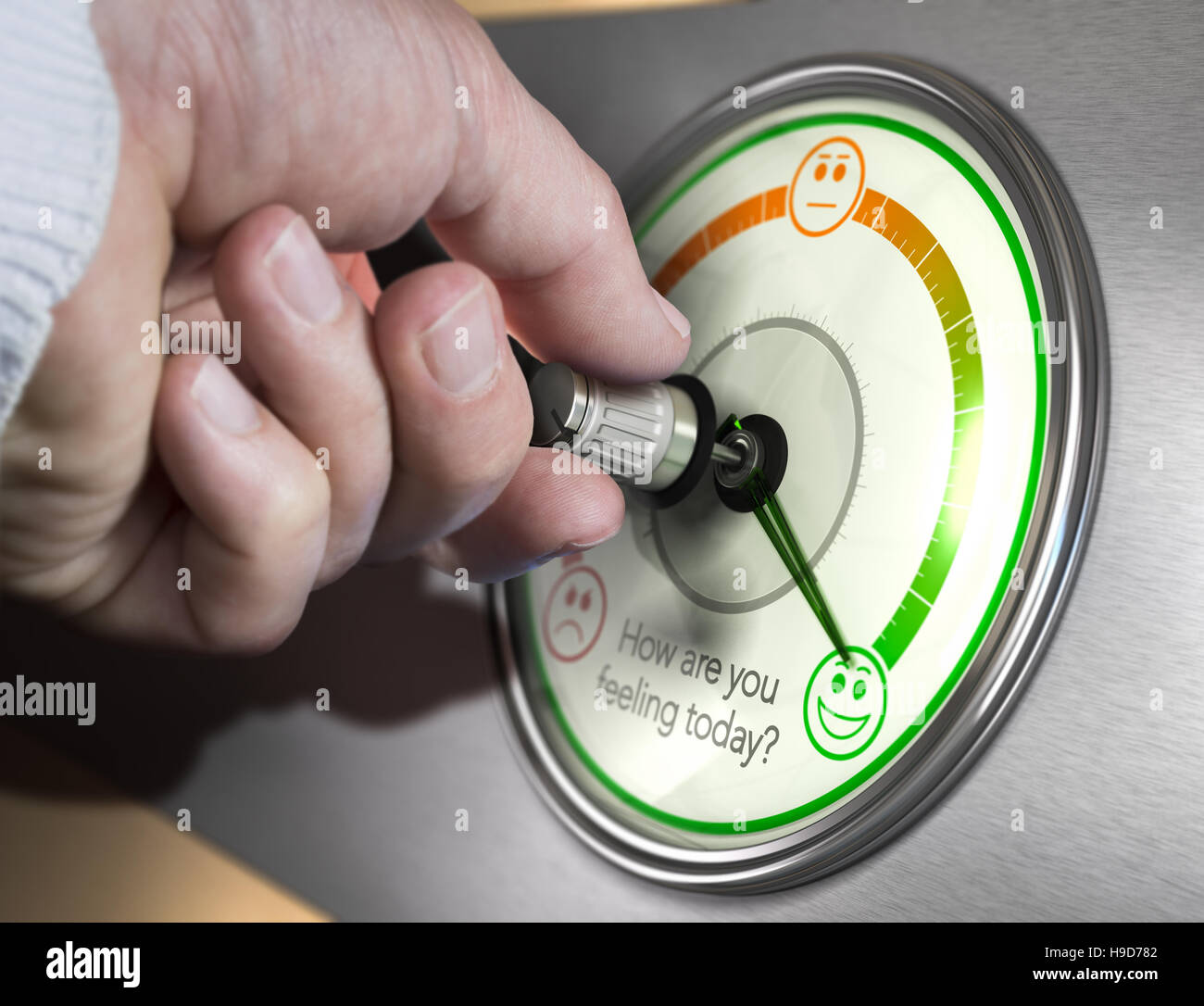 Hand turning a mood indicator knob to the optimistic position. Composite image between a photography and a 3D background. - Stock Image