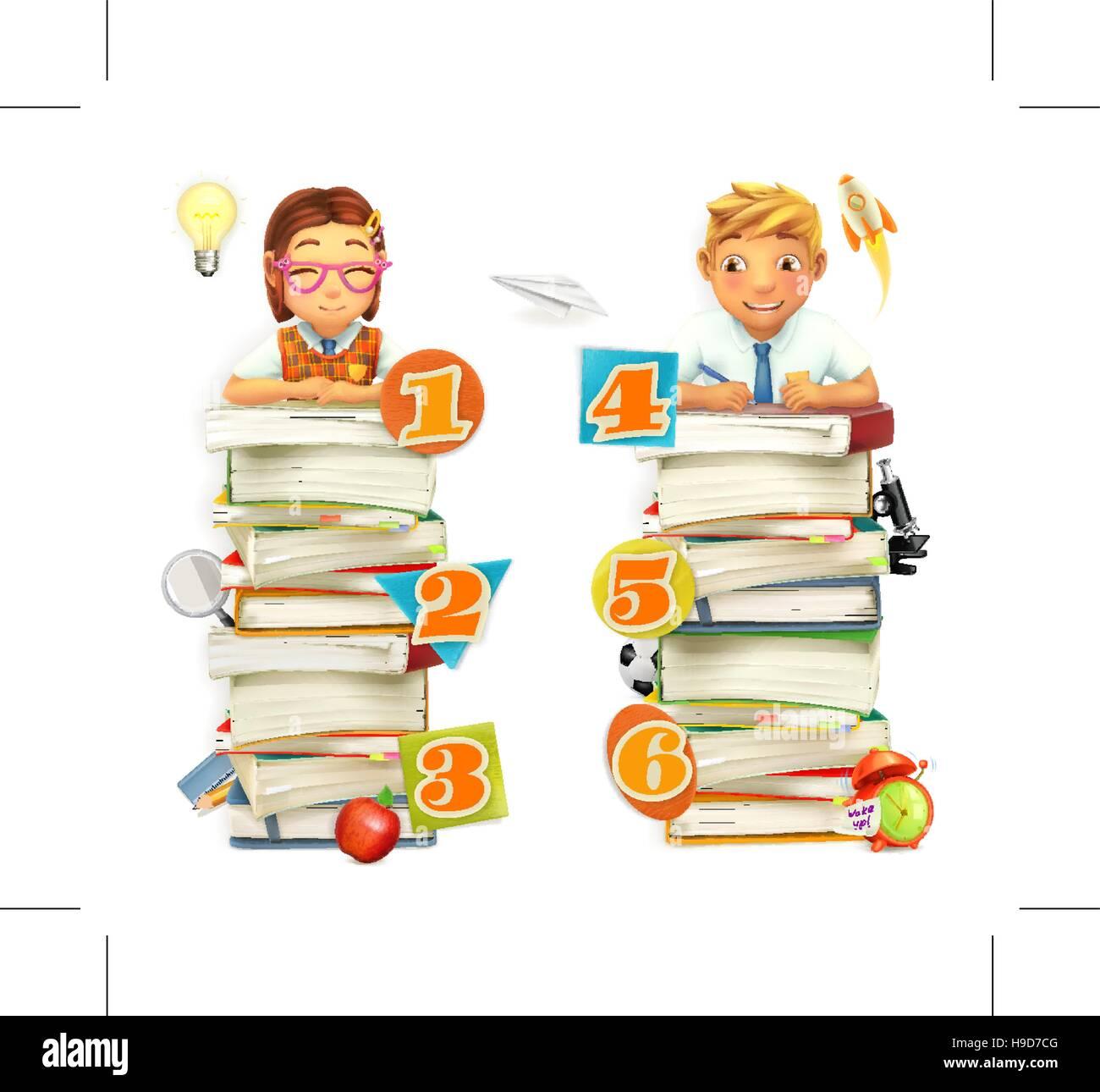 Schoolchildren. School infographic elements. Vector 3d graphics - Stock Vector