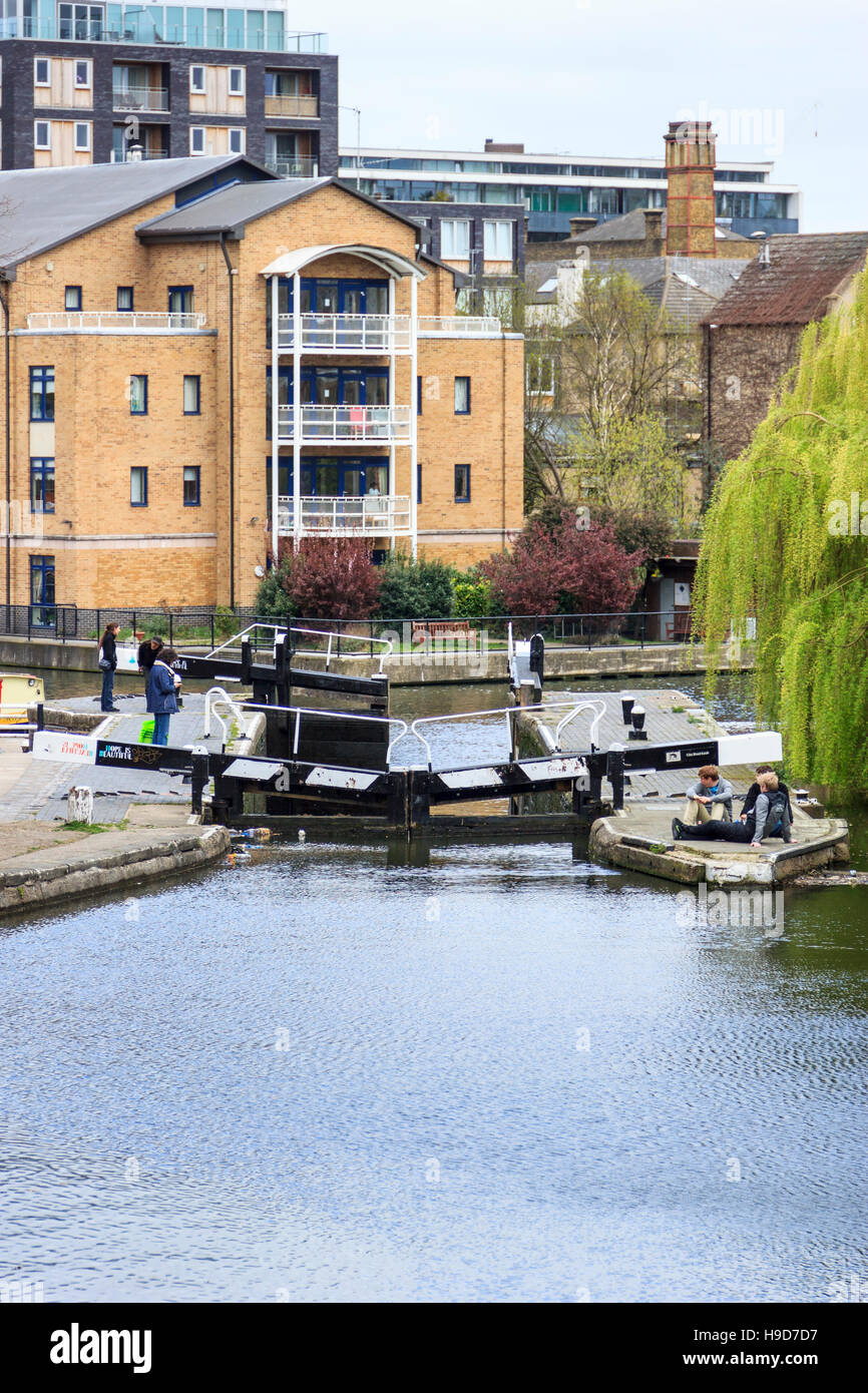 City Road Lock on Regent's Canal, Islington, London, UK Stock Photo