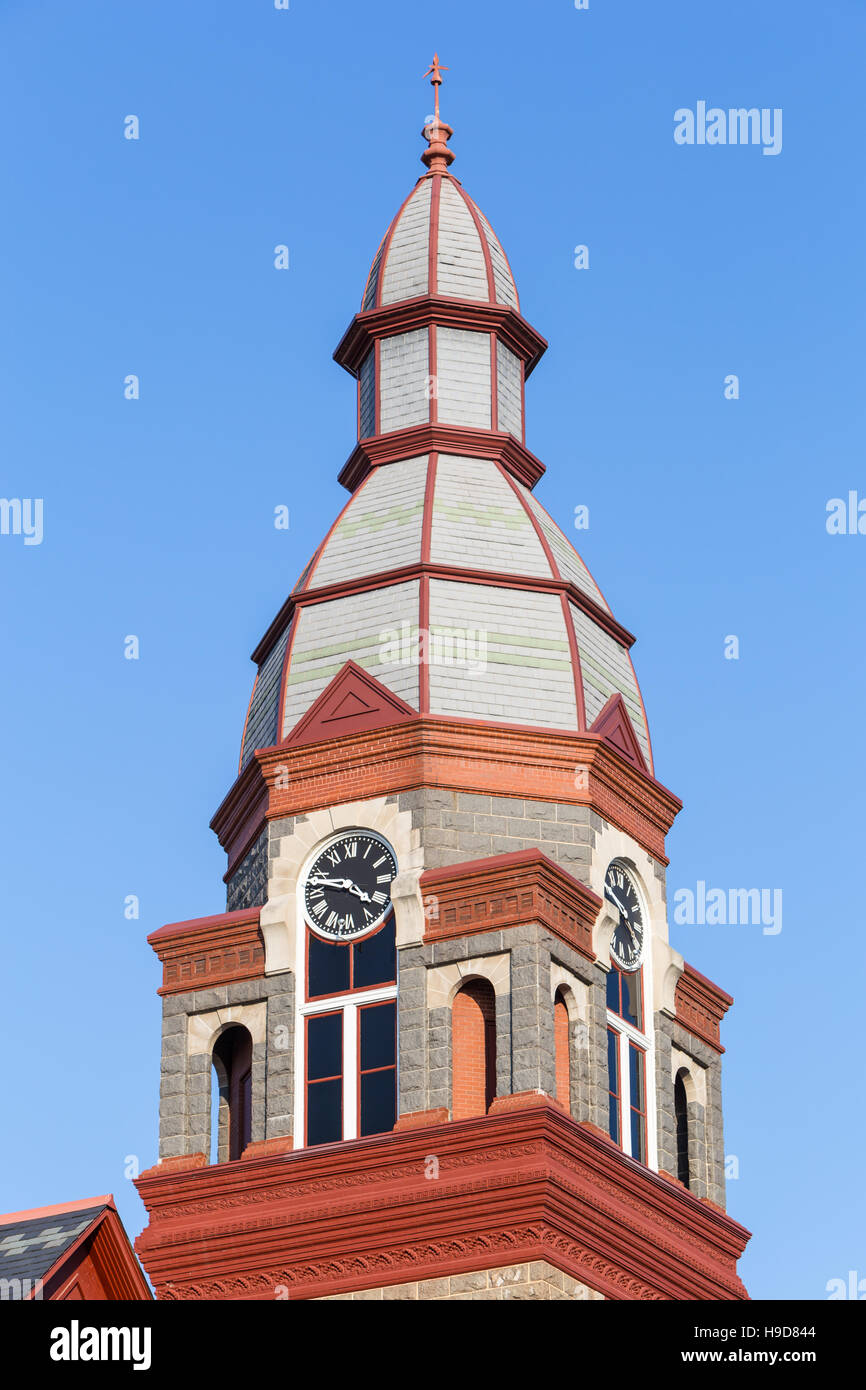 The clock tower of the Pulaski County Courthouse in Little Rock, Arkansas. - Stock Image