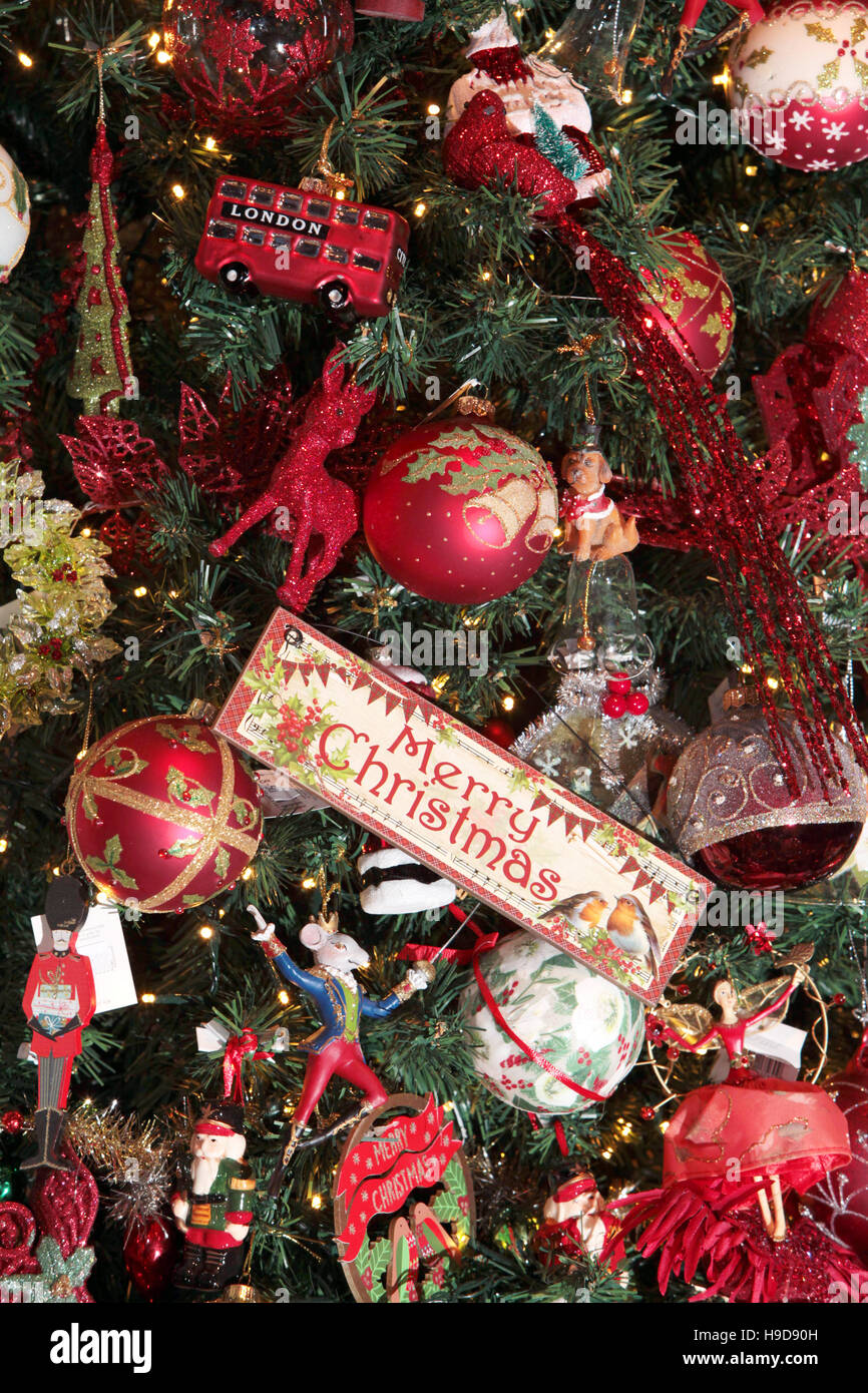 Christmas Tree Decorations England Close up of Baubels and