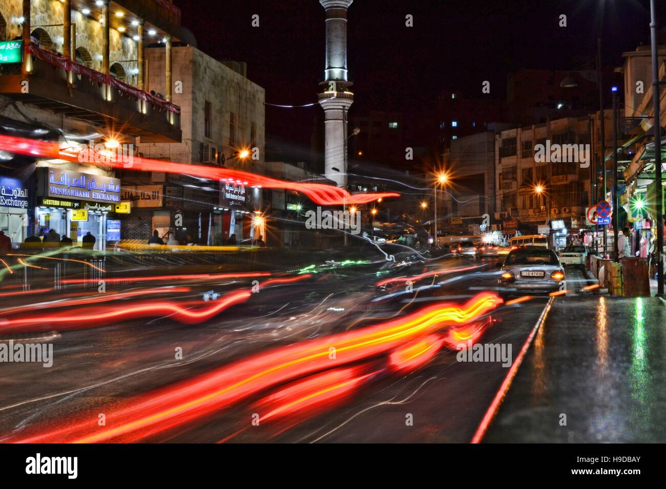 the madness of Amman's traffic, city lights and bazars - Stock Image