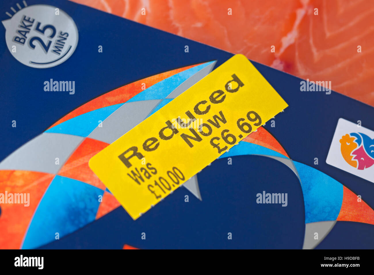 Reduced label on pack of fish England UK United Kingdom GB Great Britain - Stock Image
