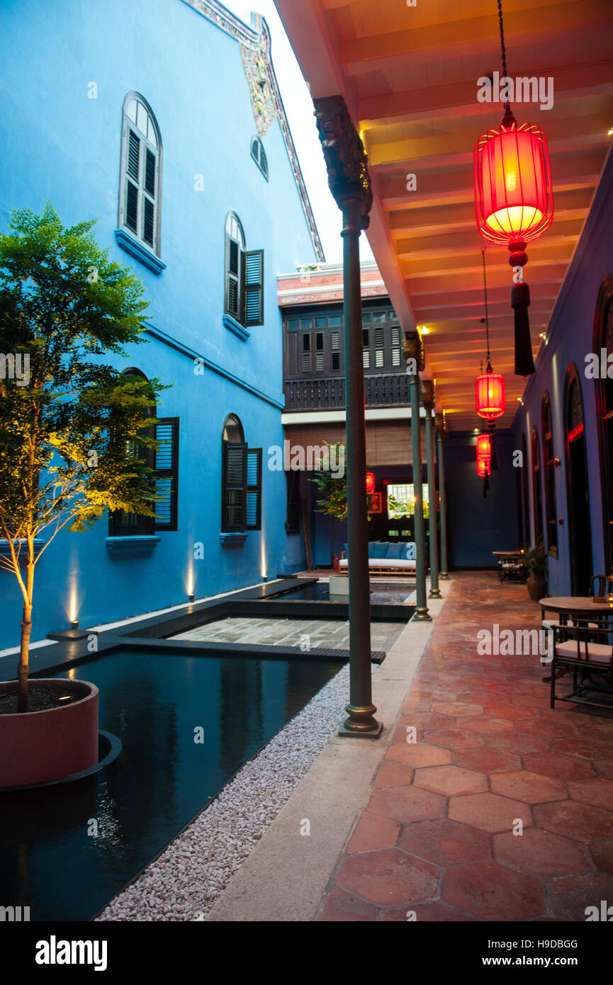 A courtyard in Cheong Fatt Tze Mansion, otherwise known as The Blue Mansion, on Leith Street in Penang. - Stock Image
