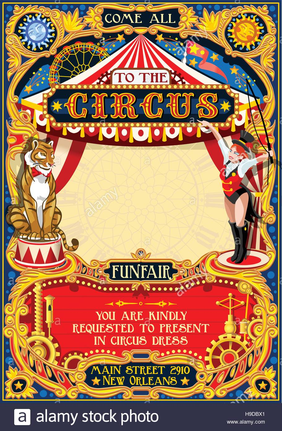 Circus Animal Trainer Show Retro Template Cartoon Poster Invite Kids Game Birthday Party Insight