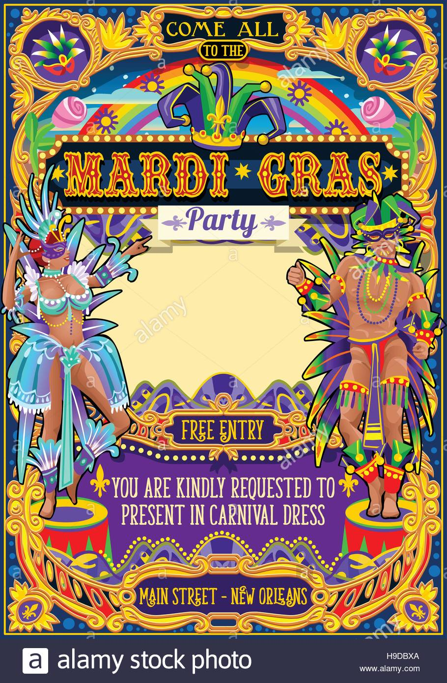 Mardi gras festival poster illustration new orleans night show mardi gras festival poster illustration new orleans night show carnival party parade masquerade invitation card template latin dance event with samb stopboris Images