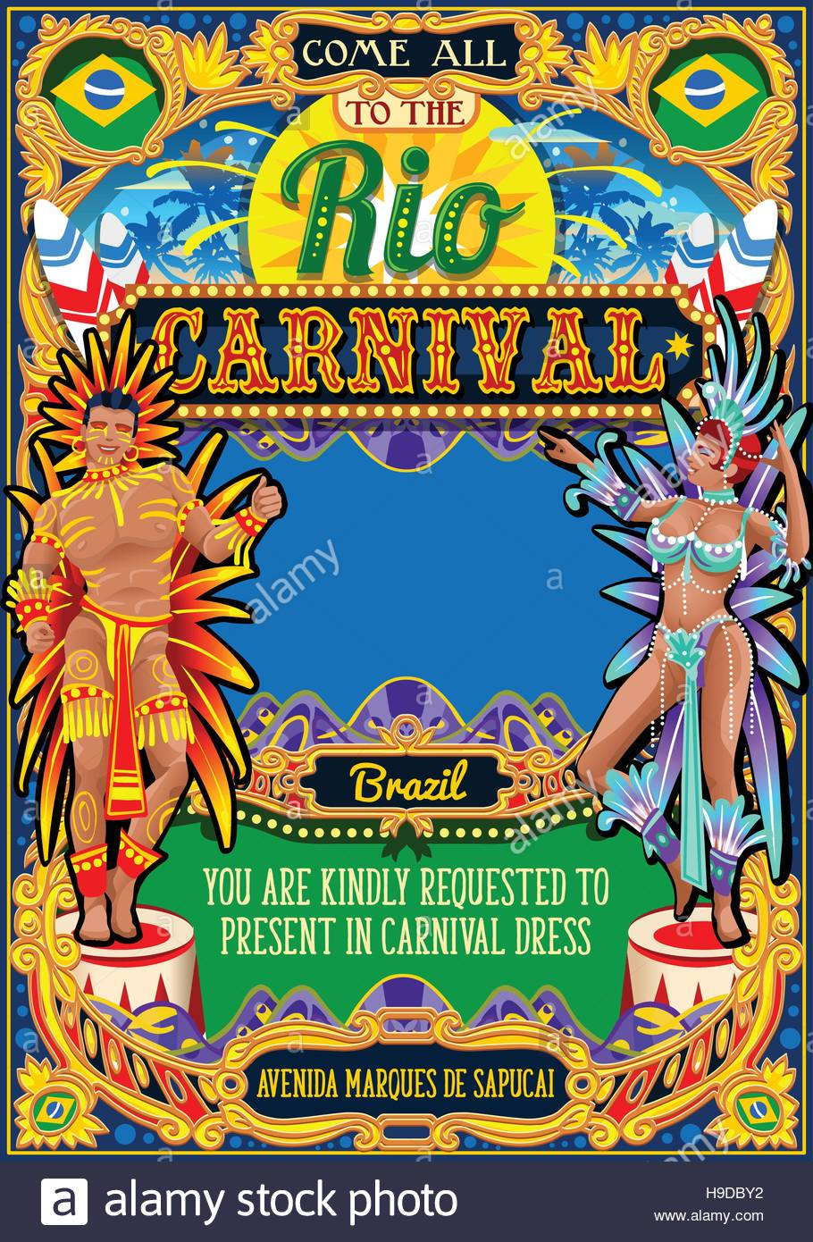 Rio carnaval festival poster illustration brazil night show rio carnaval festival poster illustration brazil night show carnival party parade masquerade invitation card template latin dance event with samba o stopboris Images