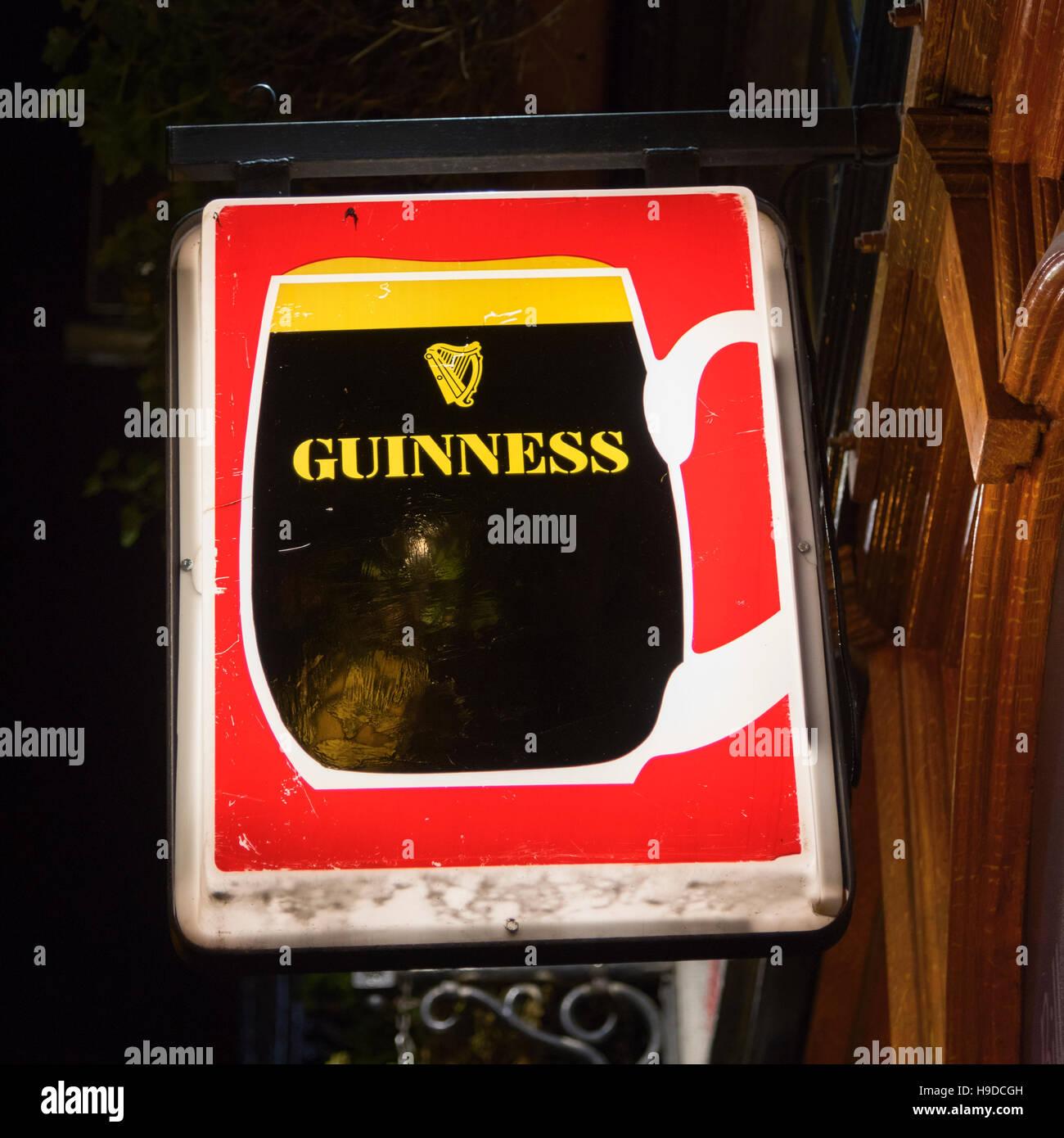 Guinness sign Dublin Ireland - Stock Image