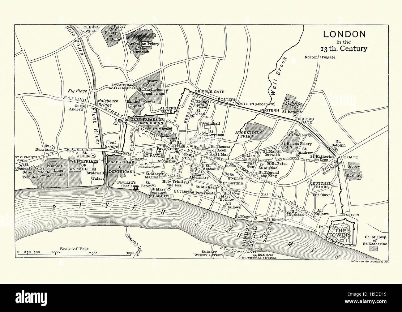 Map of London in the 13th Century Stock Photo