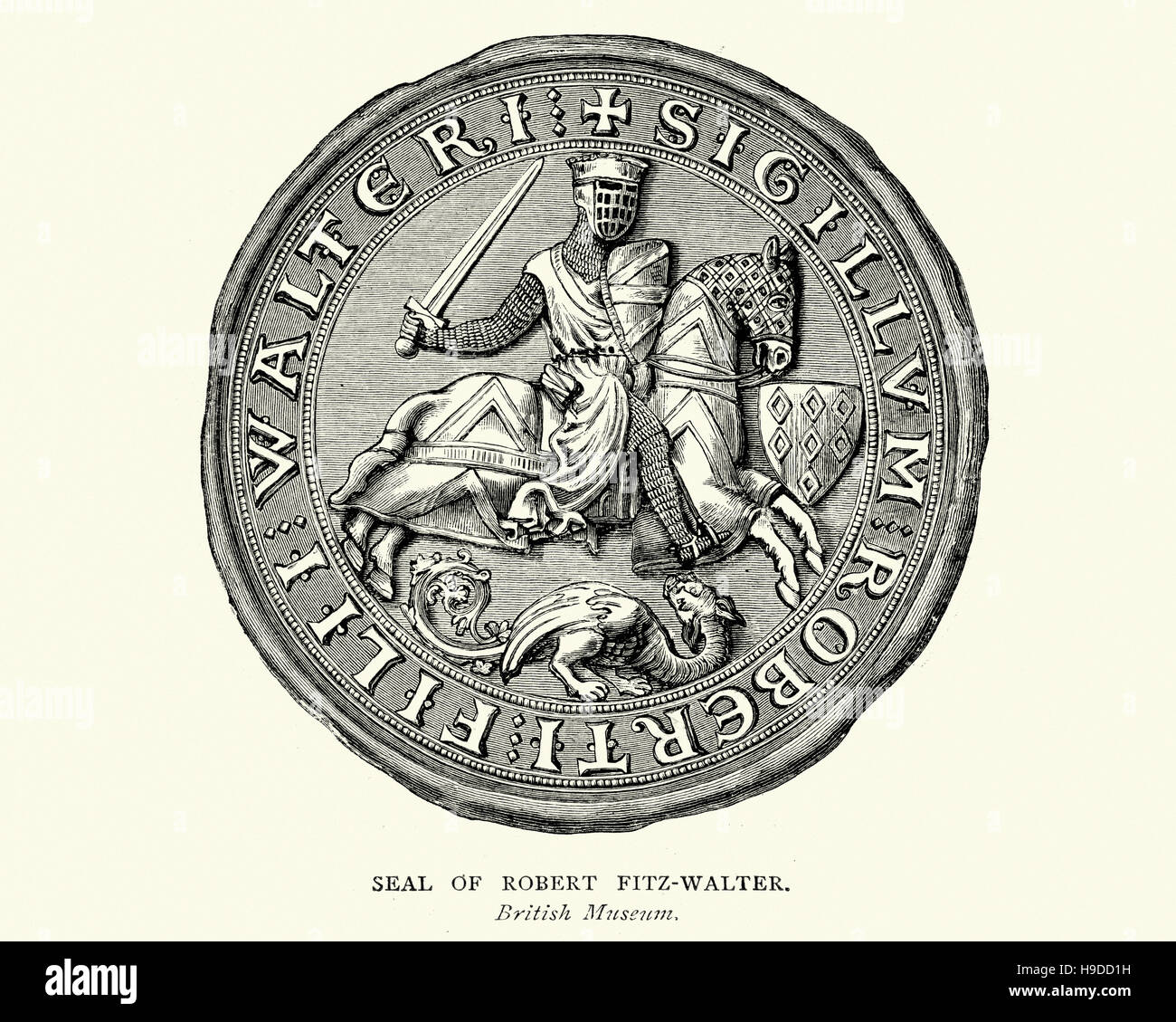 Seal Of Robert Fitzwalter The Leader Of The Baronial Opposition Stock Photo Alamy