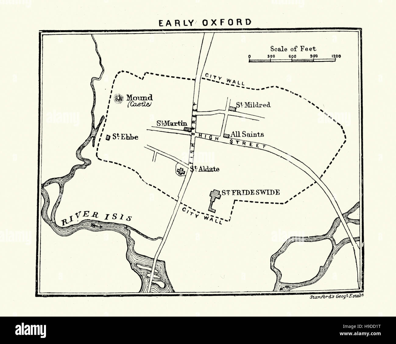 Map Of Early Oxford England Stock Photo 126300100 Alamy