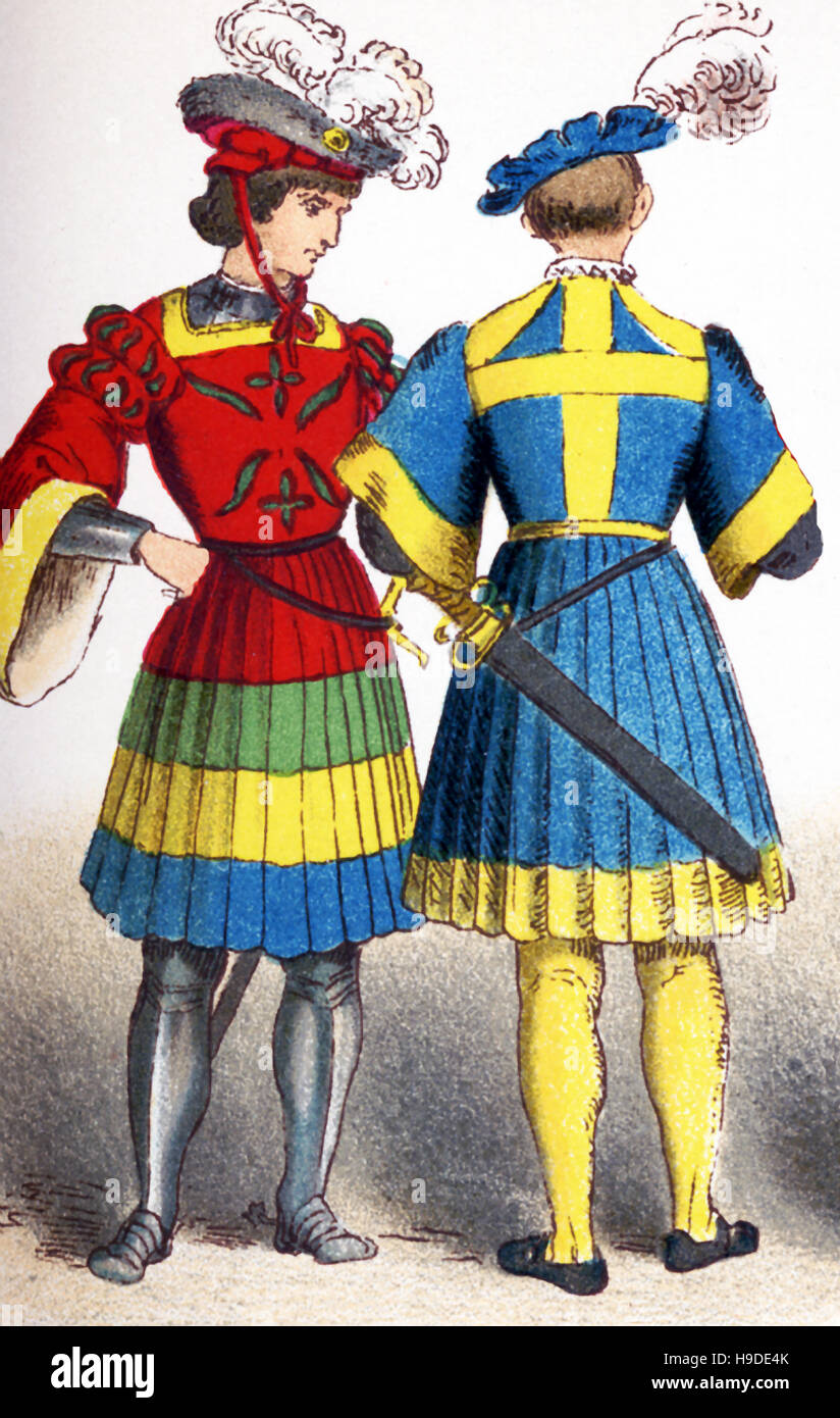 The figures represented here are two German knights between 1500 and 1550. The illustration dates to 1882. - Stock Image