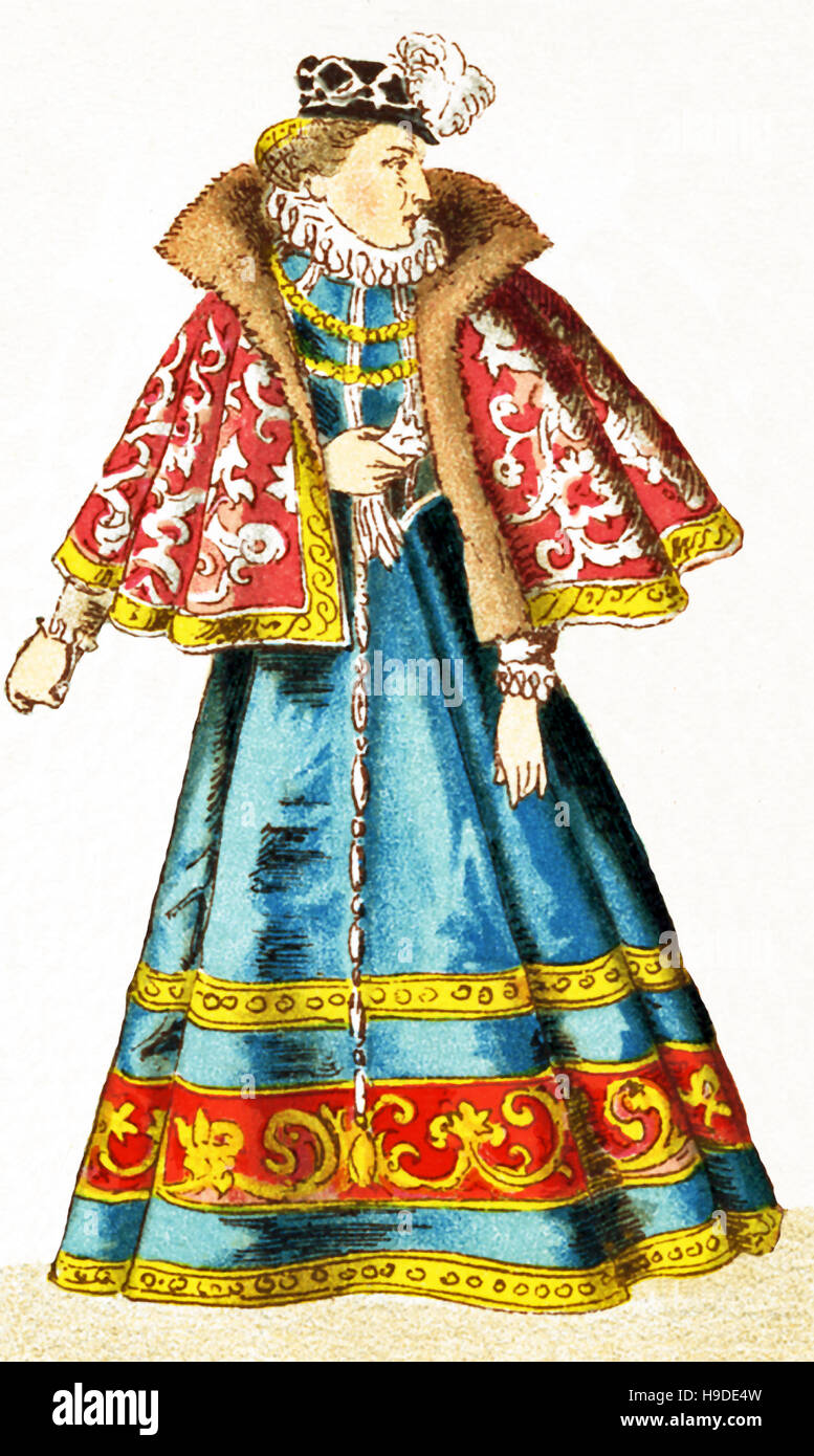 The German  figure represented here is a woman from Misnia. The illustration dates to 1882. - Stock Image
