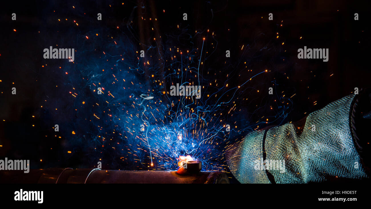 welding argon welding splatter repairman, lifestyles, light weld - Stock Image