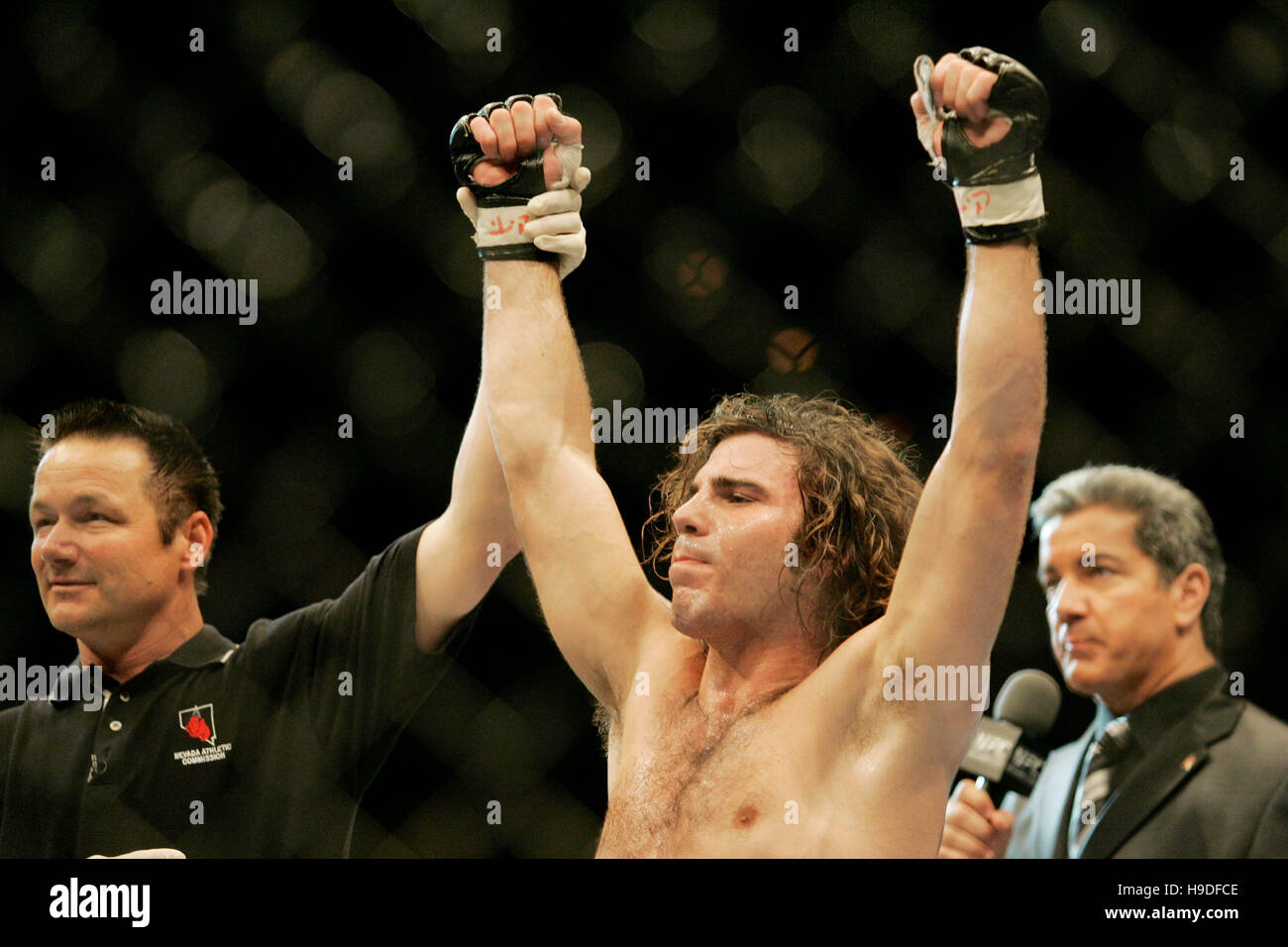 Clay Guida celebrates his victory over Justin James at the Ultimate Fighting Championships (UFC) 64 at the Mandalay Stock Photo
