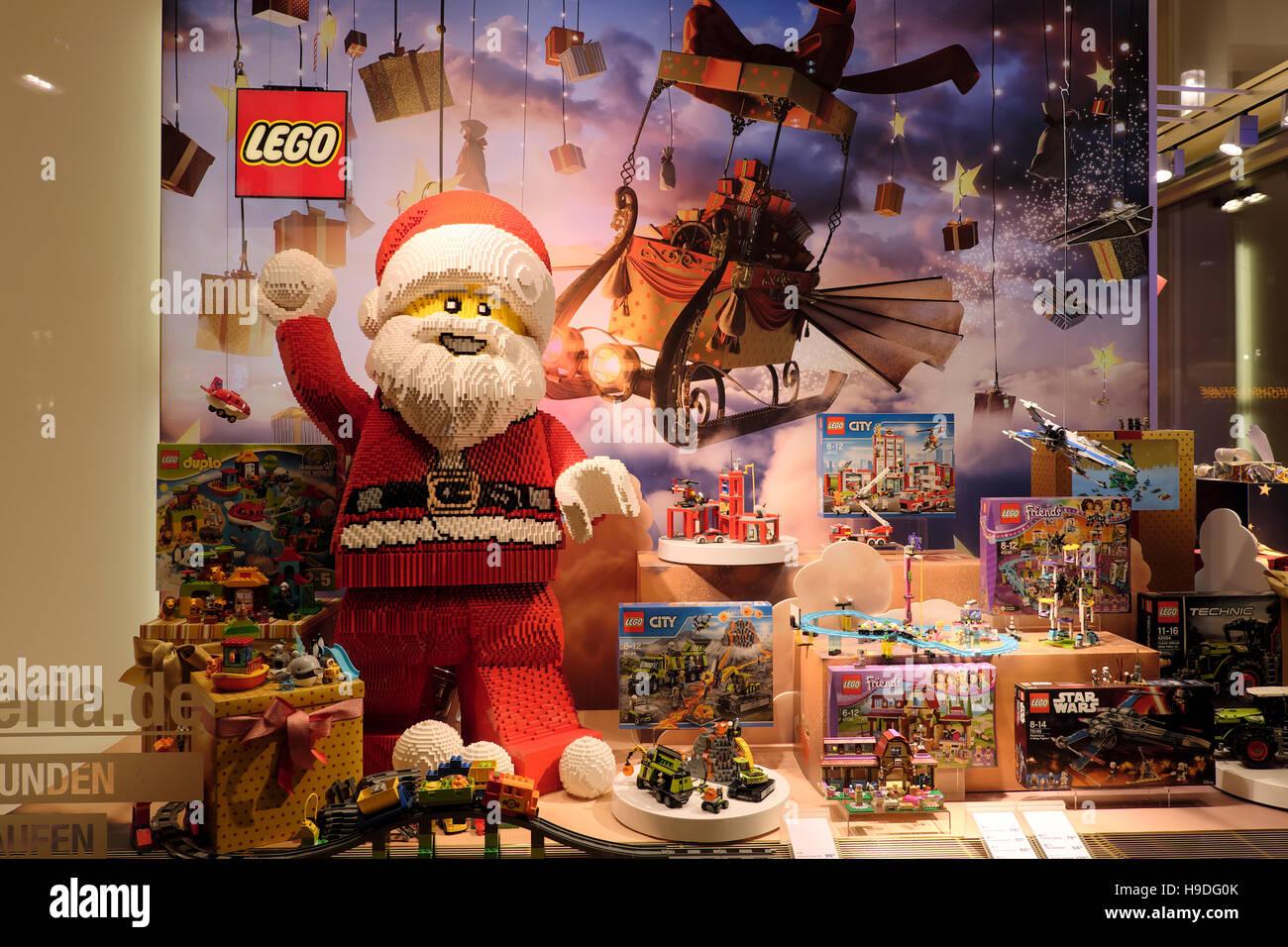 Lego At Xmas Display In Store Window Santa Claus Father Christmas Saint Nicholas Berlin Germany Europe KATHY DEWITT