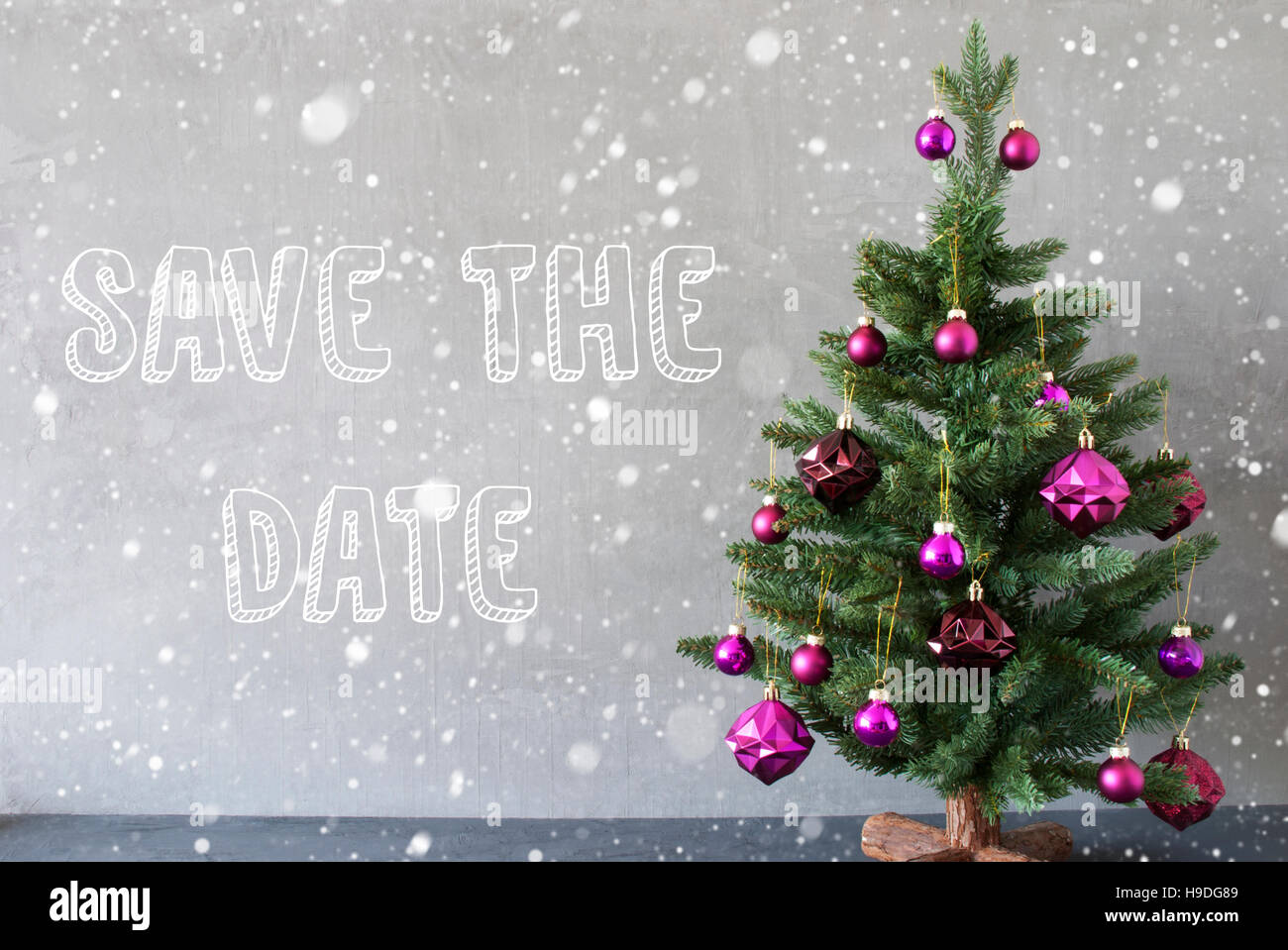 Christmas Tree Snowflakes Cement Wall English Text Save The Date